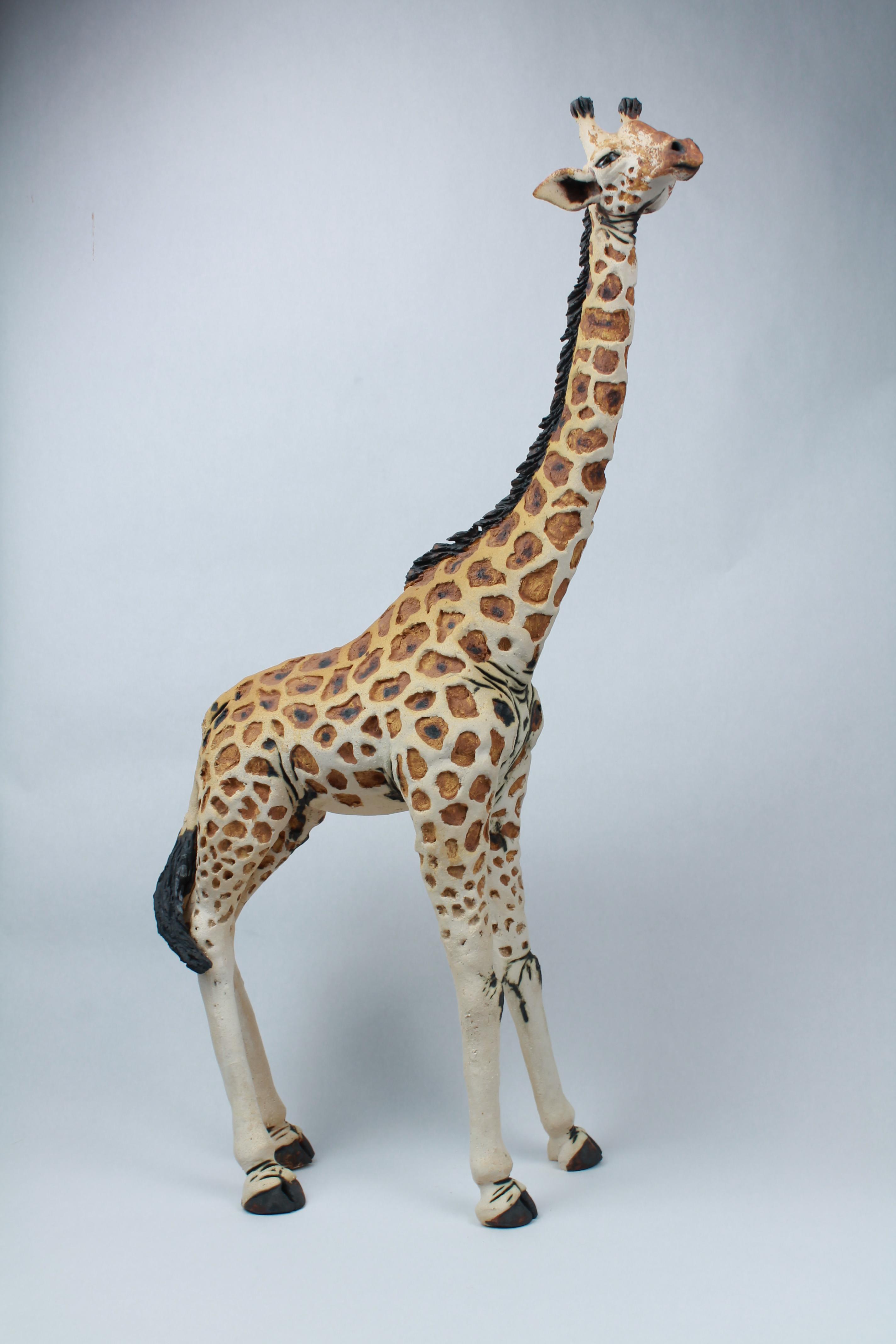 Stoneware giraffe sculpture