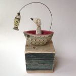 'Dog in a Boat' Ceramic & Driftwood