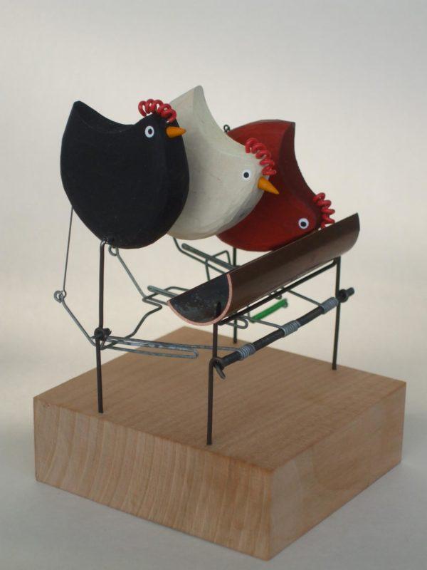 Wooden Automata 'Pecking Order'