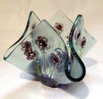 Fused glass flower tea light holder