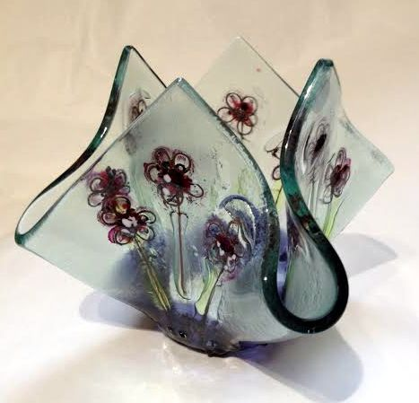 Fused glass flower tea light holder