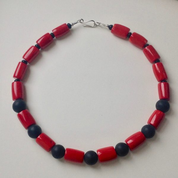 Red Sea Bamboo with Onyx Necklace