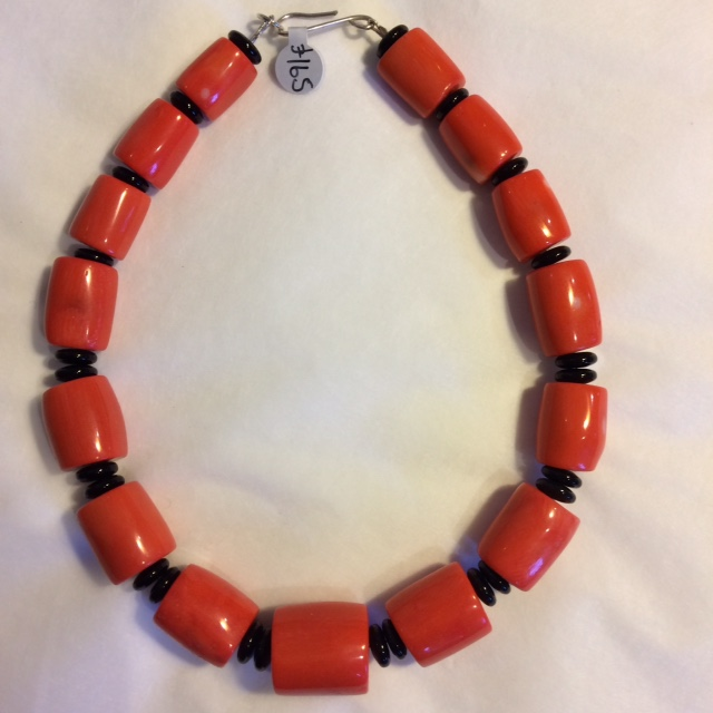 Necklace in Orange Dyed Red Sea Bamboo with Onyx