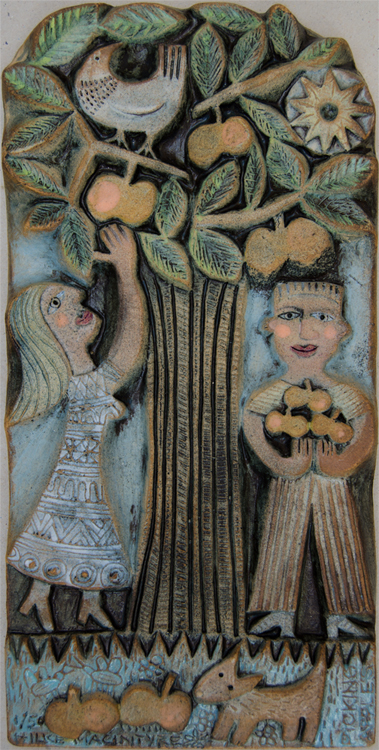 Ceramic Relief Picking Apples