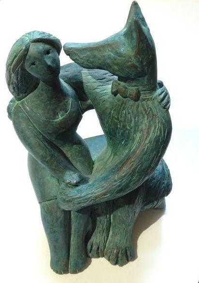 Bronze resin sculpture with verdegris