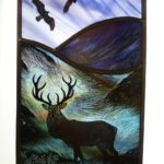 Stained Glass Panel Highland Stag, Golden Eagles