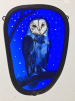 Stained Glass Starry Barn Owl