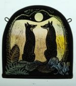 'Full Moon Foxes Stained Glass Panel