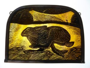 Stained Glass Panel Running Meadow Hare
