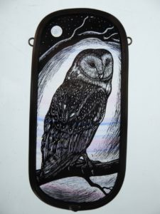 Stained Glass Panel Barn Owl