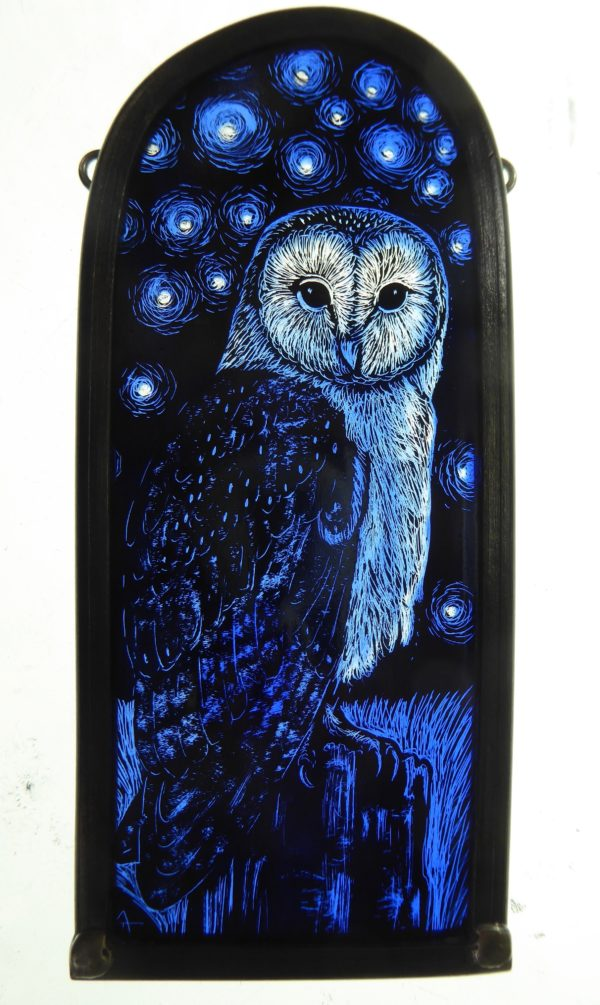 Stained Glass Panel Starry Barn Owl