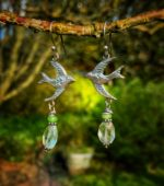 Silver Swift Earrings with Phrenite