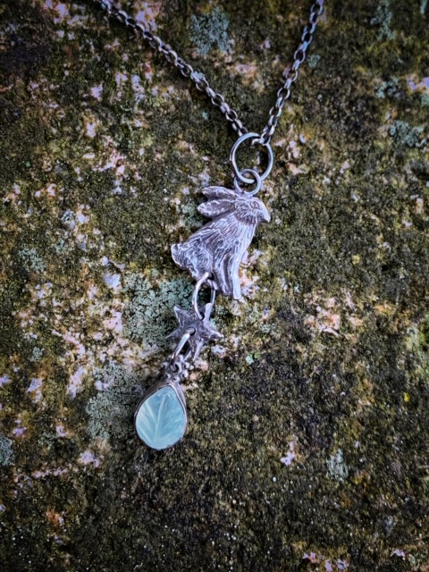 Silver Hare Pendant with Moonstone