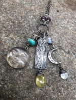Silver Hare totem pendant with crystal moon and turquoise