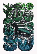 Original Woodcut Print Hare In The Cabbage Field