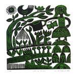 Original Lino-cut 'Spring Greens'