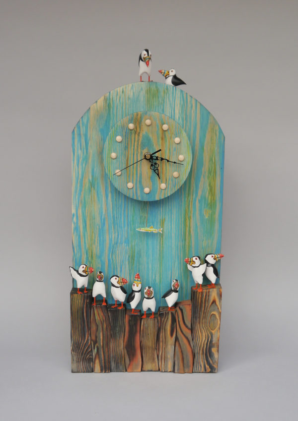 Carved Wood Puffin Clock with Fish Pendulum