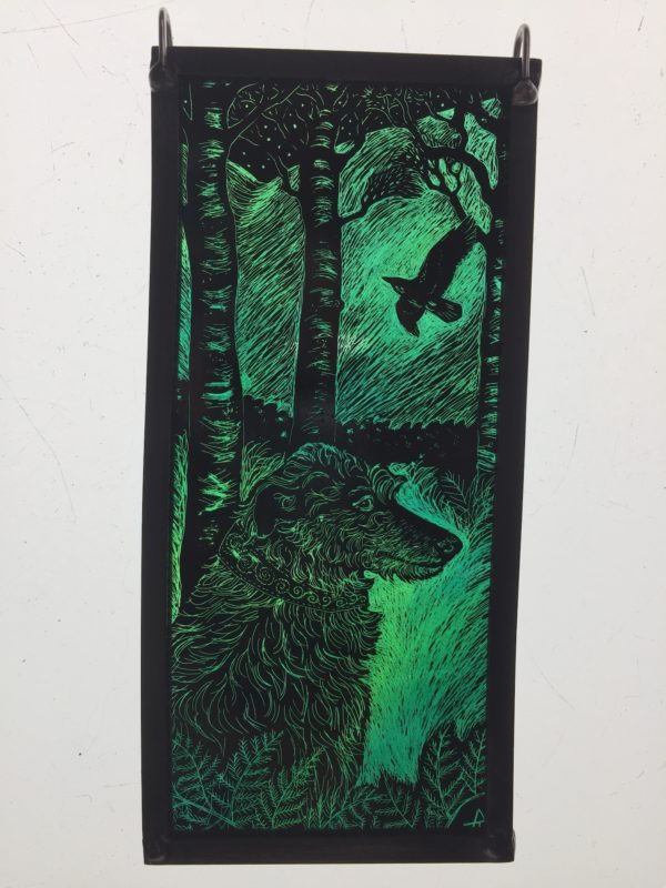 'Stained Glass Panel Deerhound