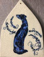 Pointed Arch Raku Tile Blue Dog
