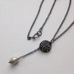 Oxidised Silver sparkle disc pendant