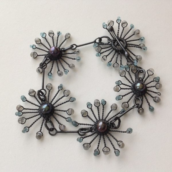 Oxidised Silver Starburst Bracelet