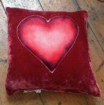 Hand painted silk velvet Heart cushion