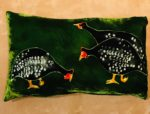 Hand painted silk velvet cushion