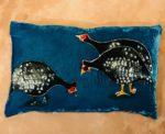 Guinea Fowls on Petrol Blue