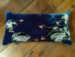 Hand painted silk velvet cushion Guinea Fowls