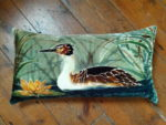 Hand painted silk velvet Grebe cushion