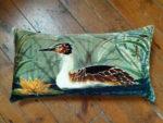 Hand painted silk velvet Grebe cushion