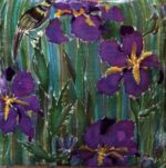 Hand painted silk velvet Iris cushion