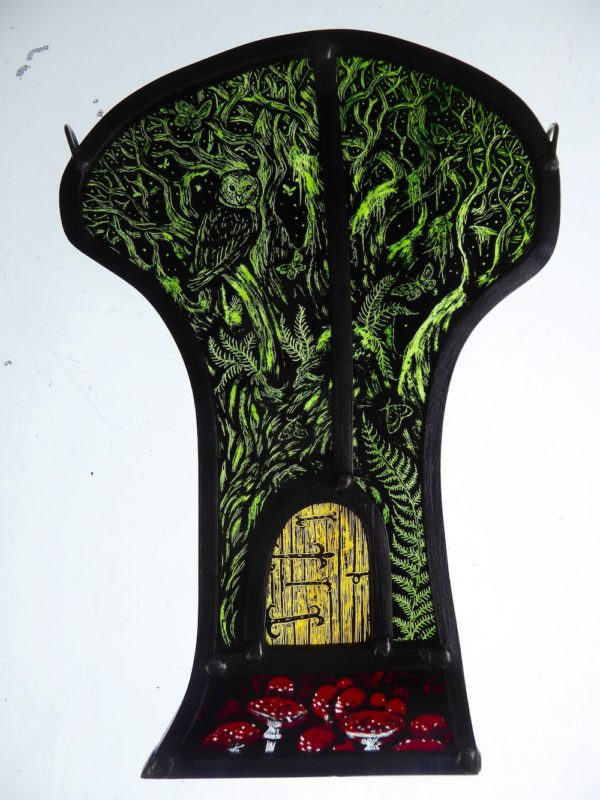 Stained Glass Panel Tree of Moths & Magic
