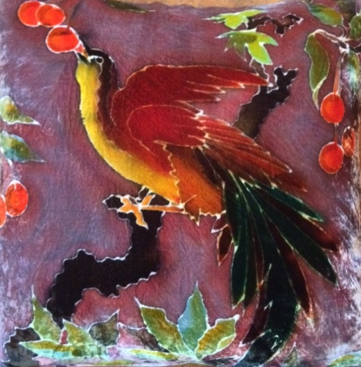 Hand painted silk velvet bird cushion