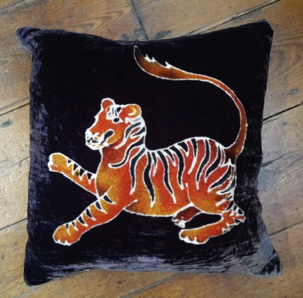 Hand painted silk velvet Tiger cushion