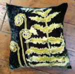 Hand painted silk velvet Fern cushion