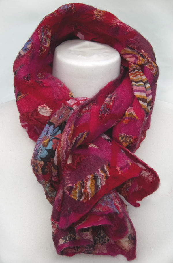 Nuno Felted Scarf Rambunctious Reds