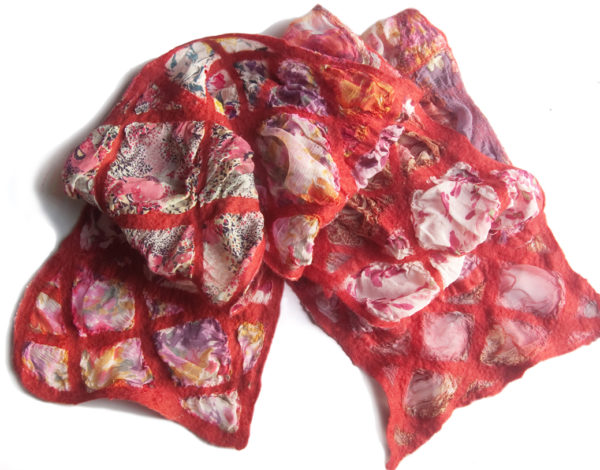 Hand Felted Nuno Scarf Patchwork in Red