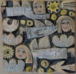 'Three Angels Ceramic Relief