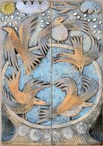 Ceramic Relief Bird Bath