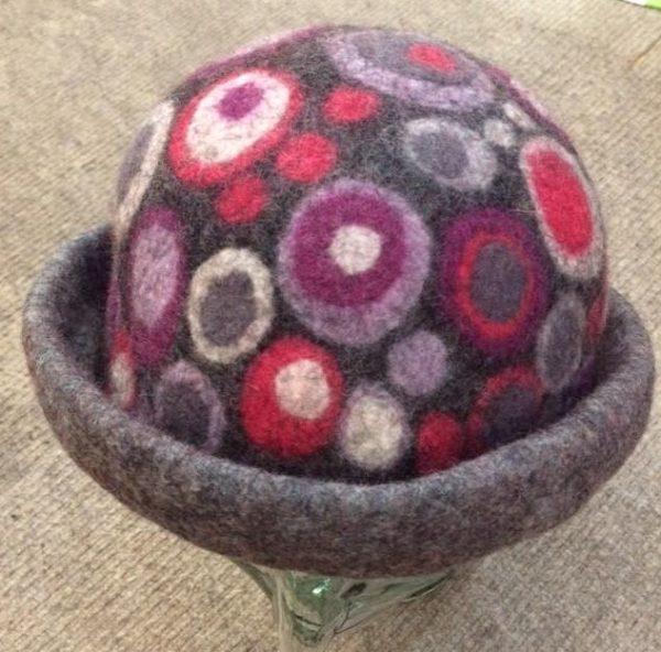 Hand Felted hat in dark grey