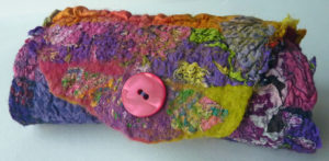 Hand Felted Bracelet Cuff Multi Coloured