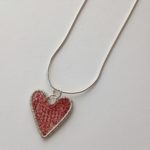 Silver Heart Pendant Red