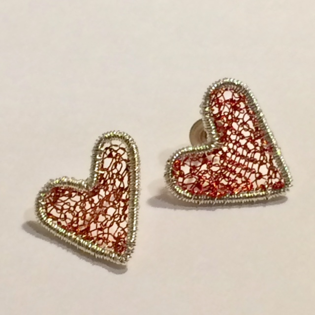 Silver Heart Studs in Red