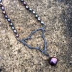 Oxidised silver knotted pearl necklace