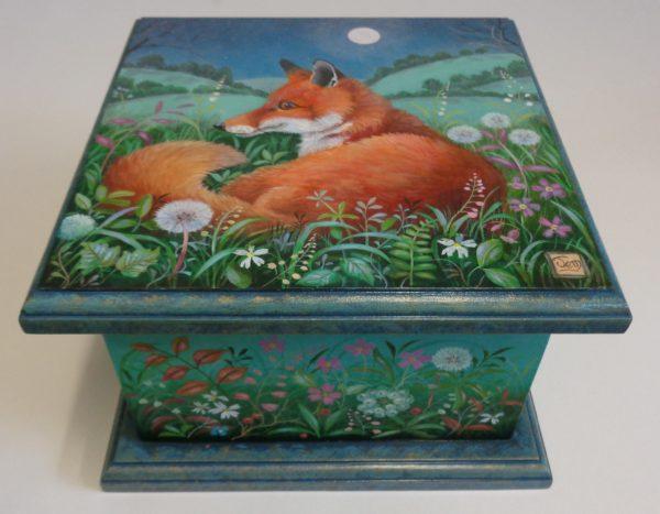 Hand painted box 'The Fox Awaits'