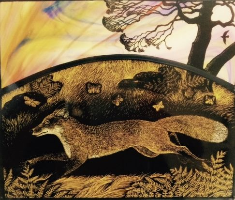 Print of stained glass panel - Fox Run