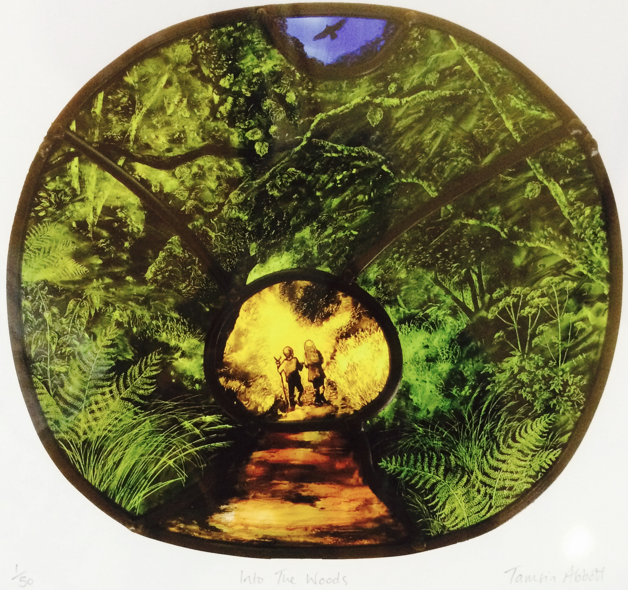 Print of stained glass panel - Woods