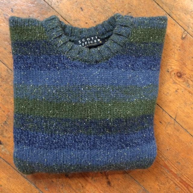 Pure Wool Unisex Stripy Sweater Blue Green