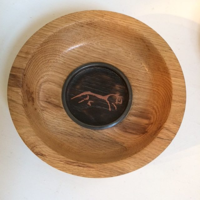 Copper Inset Uffington Horse on Oak bowl